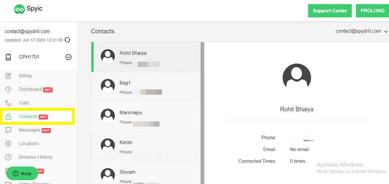 contacts tracking on spyic