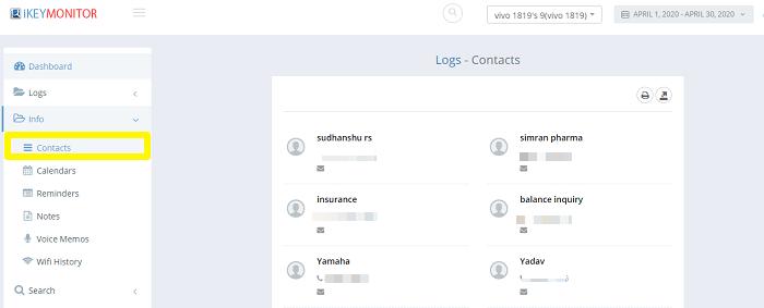 ikeymonitor contacts tracking