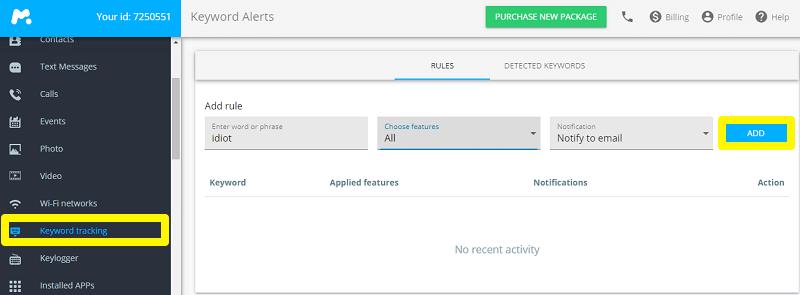 keyword tracking mspy