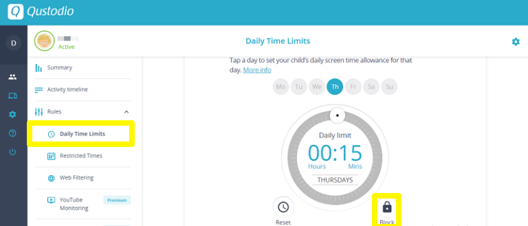 qustodio daily time limit