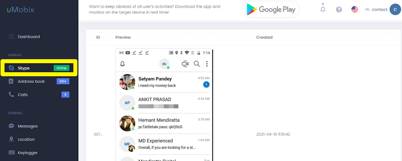 skype conversation with umobix
