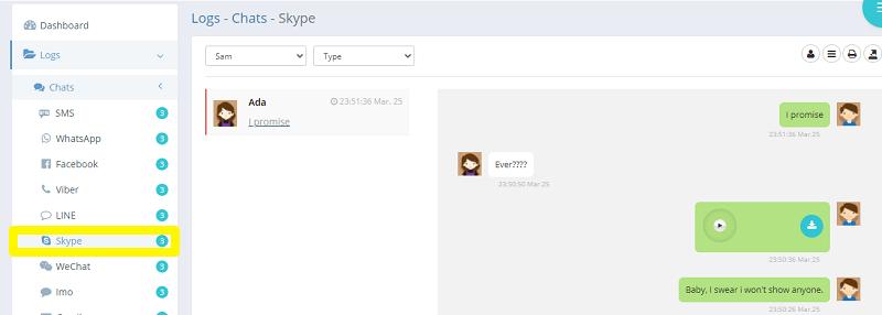 spying with ikeymonitor on skype