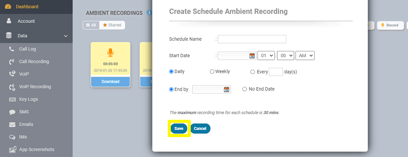 scheduling ambient recording
