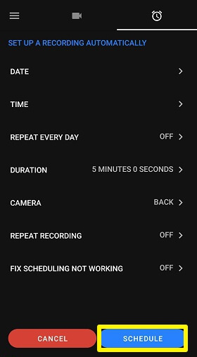 pre schedule with quick video recorder
