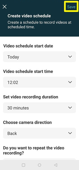 schedule video with easy video recorder