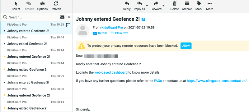 geofence alert on email