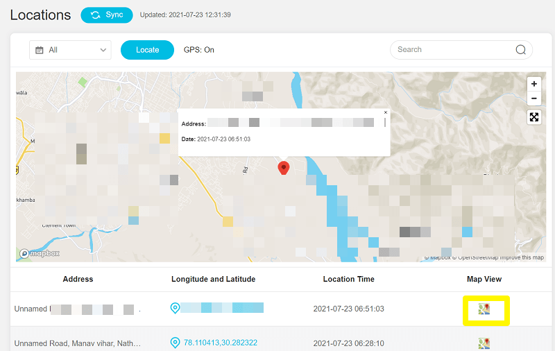 location tracking on KidsGuard Pro
