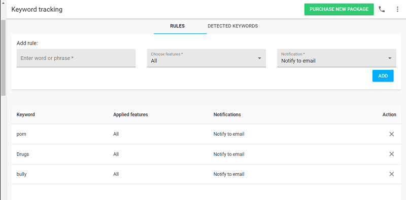 mspy features - keyword tracking