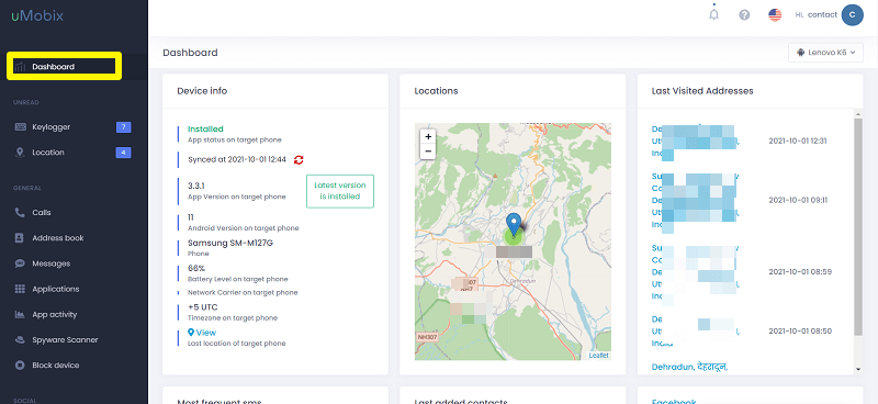 uMobix dashboard