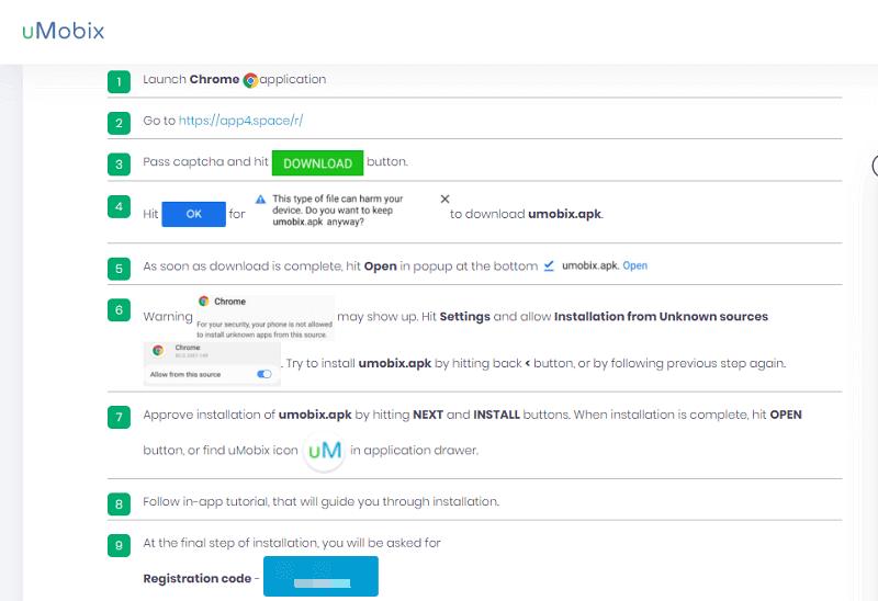 umobix registration code and credentials